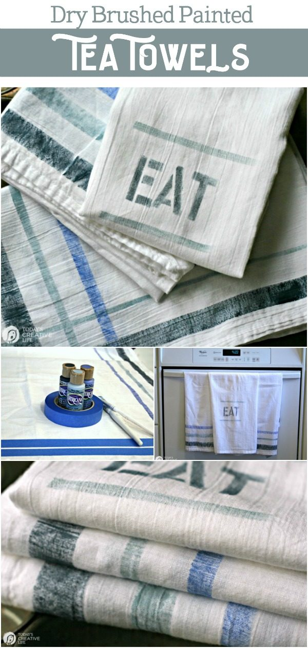 {DIY Vintage Kitchen Towels} How To Paint on Fabric | DIY Project | Painting Kitchen Dish Towels | Craft ideas | Homemade gift ideas | TodaysCreativeLIfe.com
