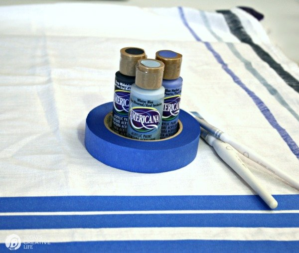 Painted Fabric Supplies - Tape, brushes, acrylic paints.