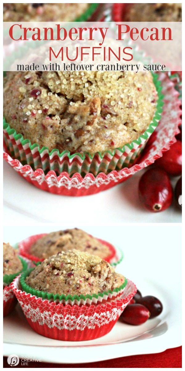 Cranberry Muffin Recipe with Pecans | Use up your cranberry sauce for these breakfast muffins. Easy to make | TodaysCreativeLife.com