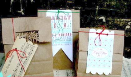 paper sacks made into cute gift bags