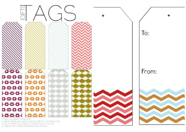 chevron printable tags