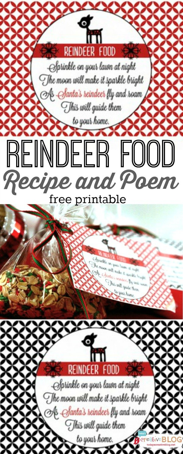Reindeer Food recipe | Free Printable | Easy to make and fun to give to neighbors! Get the free printable and recipe on TodaysCreativeLife.com