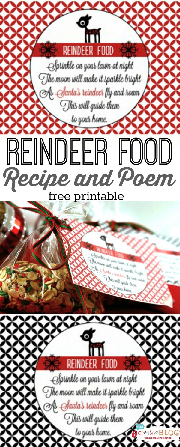 Reindeer Food recipe | Free Printable | How to make reindeer food | |Reindeer Food Poem | Christmas Holiday tradition | Easy to make and fun to give to neighbors! Get the free printable and recipe on TodaysCreativeLife.com