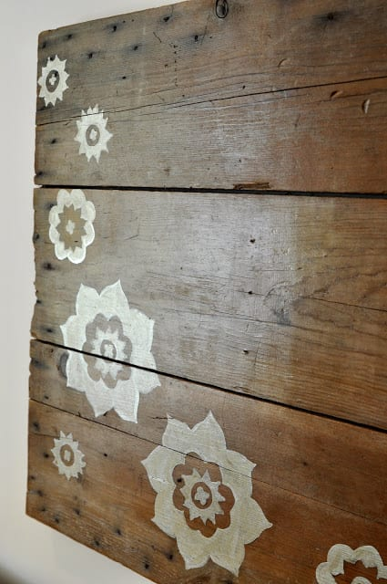 Stenciled wood wall art
