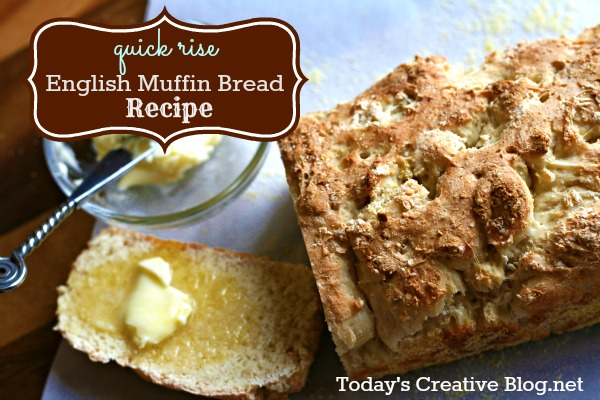 English Muffin Bread | This quick rise English Muffin Bread is perfect for breakfast or anytime. It's perfect for toasting with a bit of honey. See the recipe on Today's Creative Life