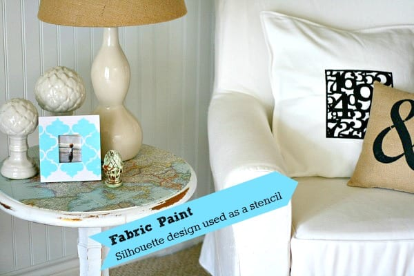 Painted numbers on fabric pillow