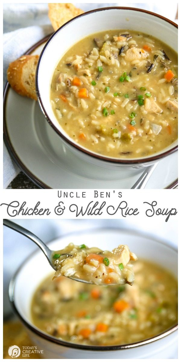 Chicken and Wild Rice Soup | Made with Uncle Ben's Wild Rice | Easy and fast soup recipe with homemade taste. Quick dinner ideas | Soup Recipes | TodaysCreativeLife.com
