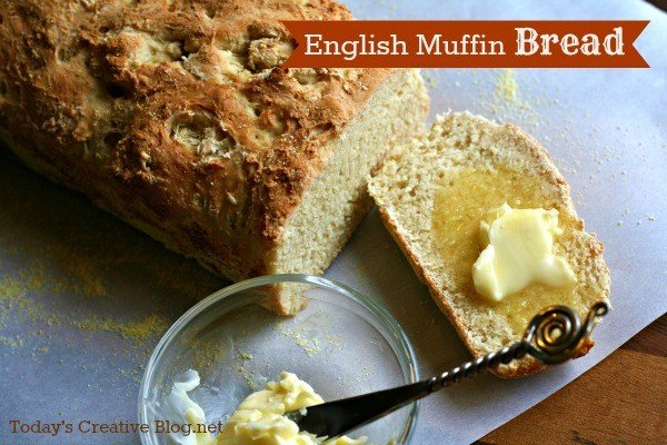 English Muffin Bread Recipe - dense with flavor. Perfect for toasting! Get the recipe on TodaysCreativeLife.com
