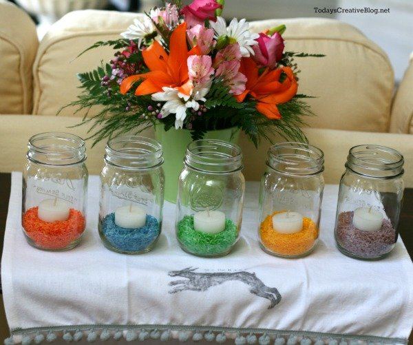 Colored rice easter table decor today s creative life
