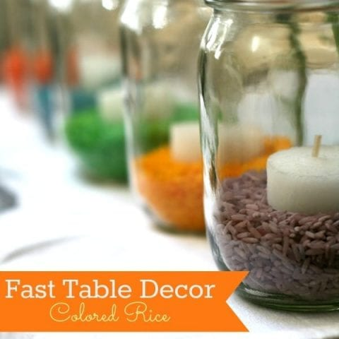 Colored Rice Easter Table Decor \ This easy craft is great for making fast table decor. Click on the photo for directions.