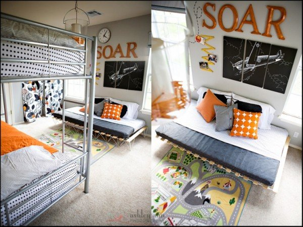 airplane themed boys bedroom