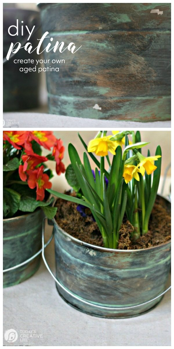 DIY Faux Patina for aging Metal | Give your flower pots an aged distressed patina metal look | DIY Patina Tutorial | TodaysCreativeLife.com