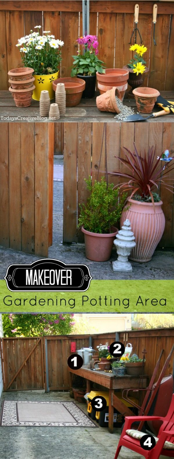 Planting Area - Potting Bench | Create a special place for your gardening and potting needs. See how I put together a simple potting table to keep it all in one place. TodaysCreativeLife.com