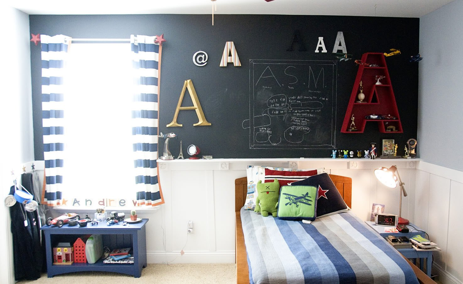 boys room makeover polka dot chaircom - Boy Bedroom Decor Ideas