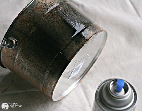 Patina Paint Tutorial | black spray paint on a tin bucket