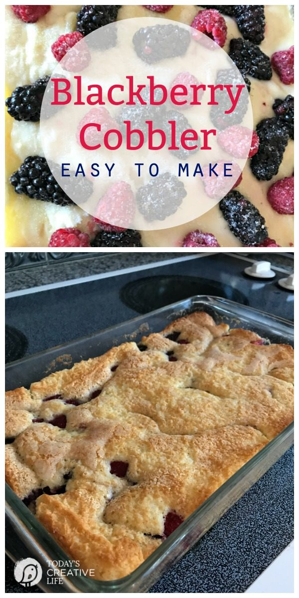 photo collage of a baked blackberry cobbler.