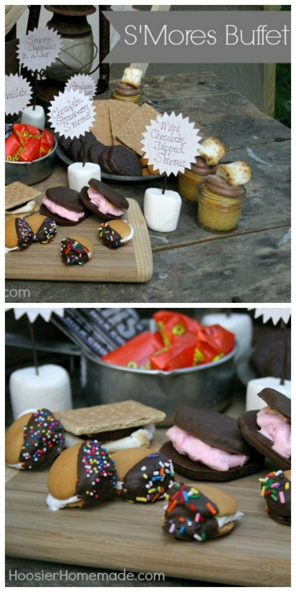 S'Mores Buffet Bar | Create a simple party buffet with S'Mores. Many S'More Recipes for fireside and fire pit toasting. Guest post by Hoosier Homemade for TodaysCreativeLife.com