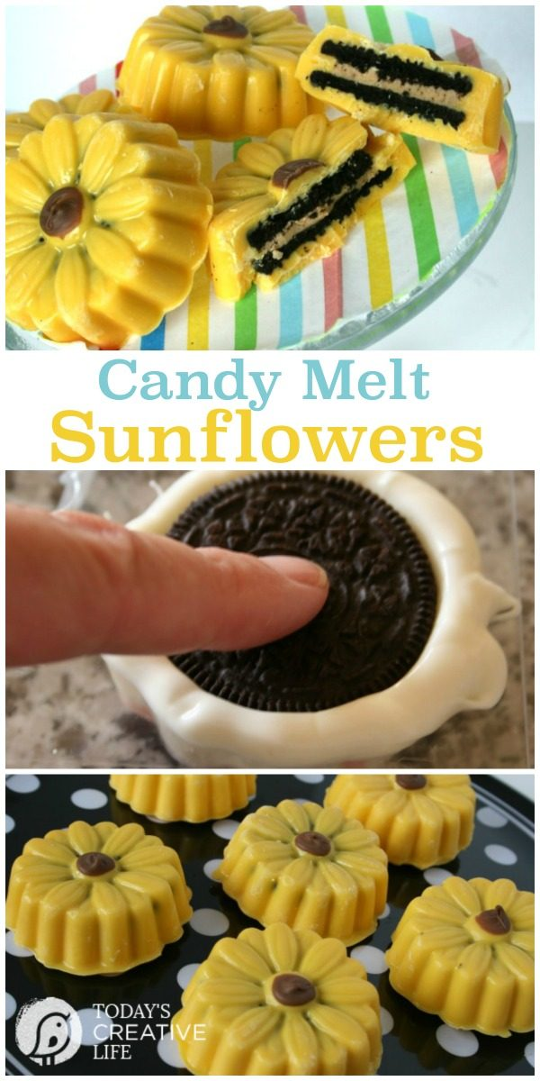 Candy Melt Sunflowers | This easy to make treat is perfect for baby showers, tea parties or just a fun treat to make! See more on TodaysCreativeLife.com