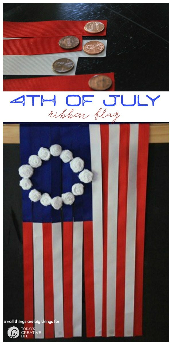 4th of July Ribbon Flag Craft | Red, White, and Blue Patriotic craft idea. Great DIY Decor for Memorial Day, Labor Day or the 4th! Small Things are Big Things for TodaysCreativeLife.com