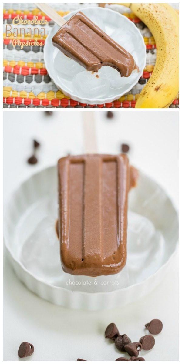 Chocolate Banana Popsicle Recipe | Summer Treats | Frozen Desserts | Chocolate Frozen Treats | Chocolate and Carrots for TodaysCreativeLife.com