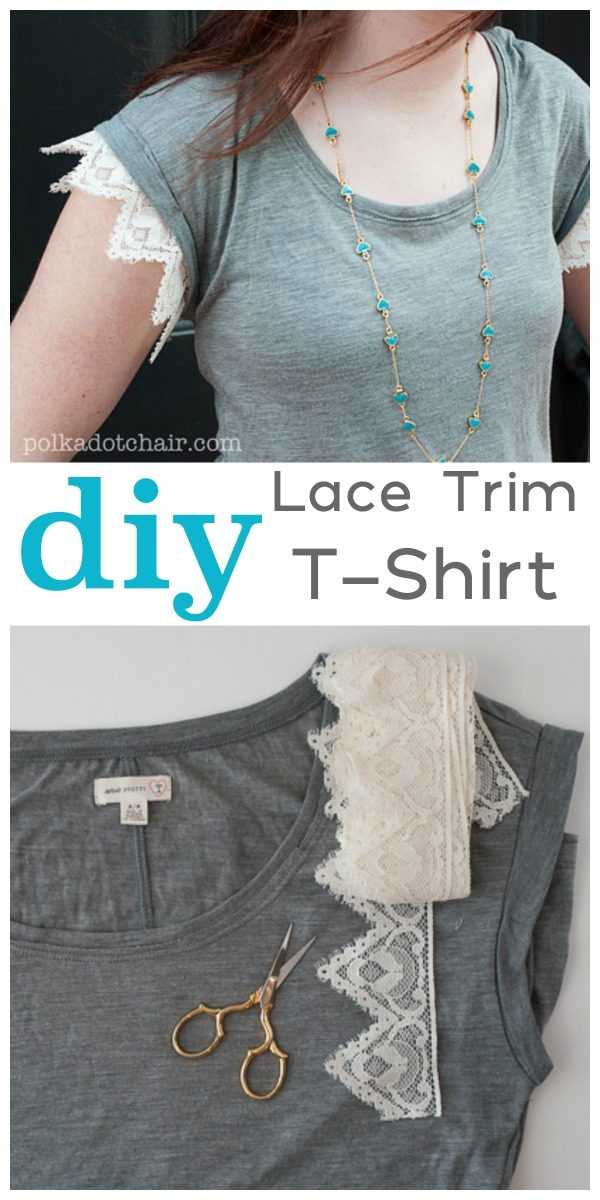 DIY Lace Trim Tee | Easy Sewing Project | T-shirt sewing projects | Full tutorial from Polkadot chair on TodaysCreativeLife.com