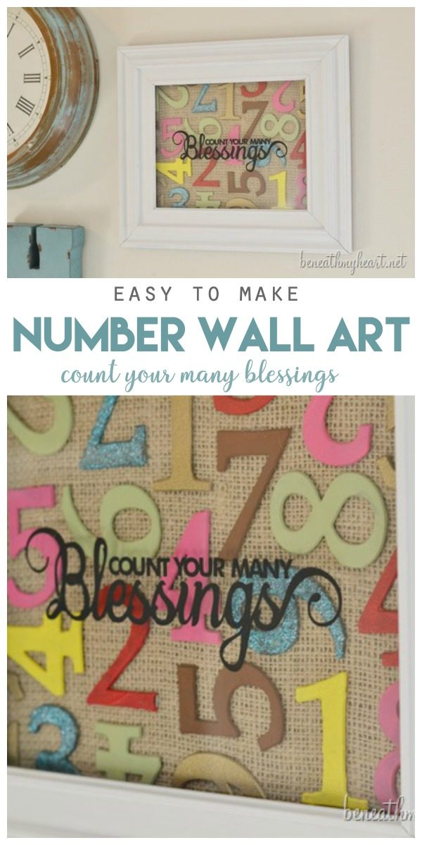 DIY Number Art | Easy to make wall art by Beneath Your Heart for Today's Creative Life | DIY Decor | Inexpensive budget friendly decor | TodaysCreativeLIfe.com