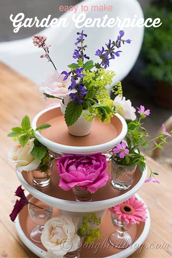 Flower arrangement with flower pots.