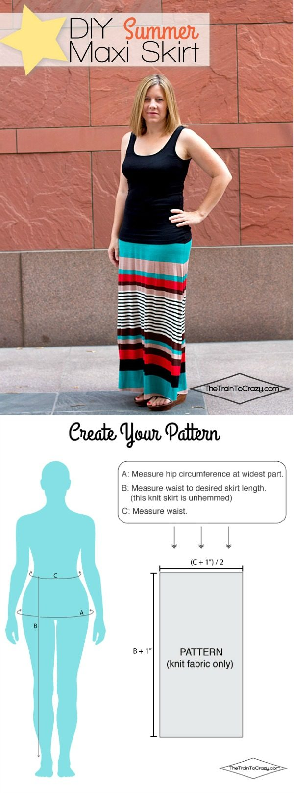 How to Make a Maxi Skirt | Follow this tutorial to make your own pattern to fit your body. This sewing tutorial is easy to follow. See more on TodaysCreativeLife.com