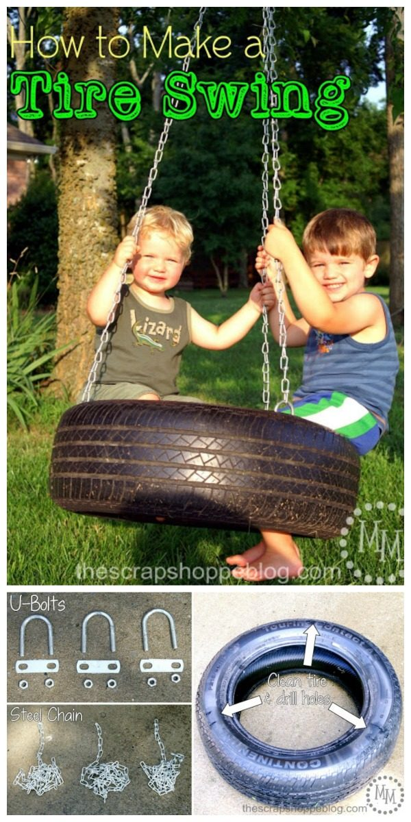 How to Make a Tire Swing | Find the right tire swing hardware and this step by step tutorial to make a vertical tire swing on TodaysCreativeLife.com