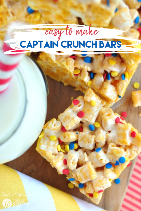 Cereal Bars made with Captain Crunch Cereal | TodaysCreativeLife.com