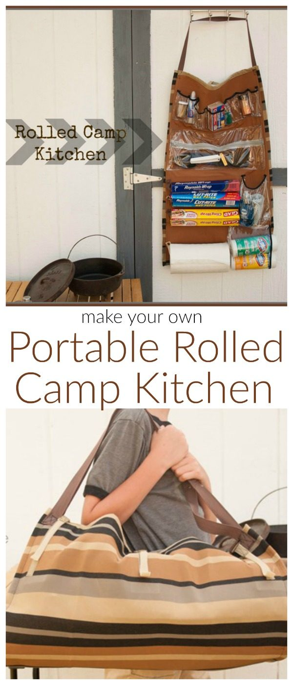 Camp Kitchen Organizer | Rolled Camp Kitchen | Sew your own portable camp kitchen for all your camping trip! This is one camping hack that will really come in handy! Guest post by Sew A straight Line for Today's Creative Life