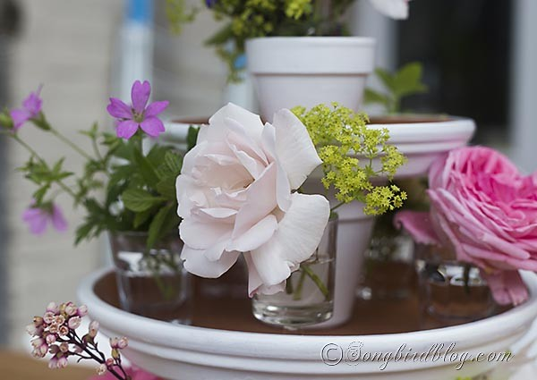 Garden Centerpiece ~ Easy Summer Table by Songbird. Create this easy DIY centerpiece with simple items. Click for the tutorial.