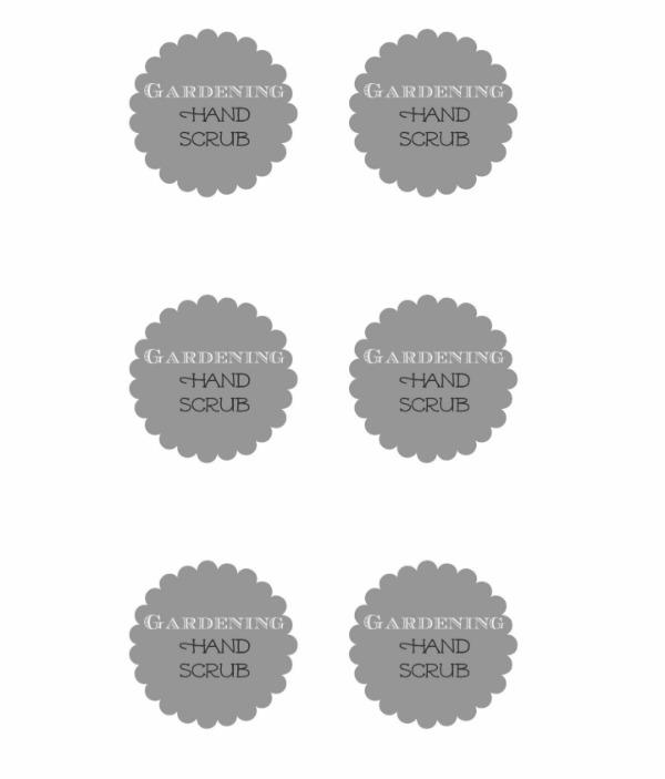 free printable Garden Hand Scrub Labels
