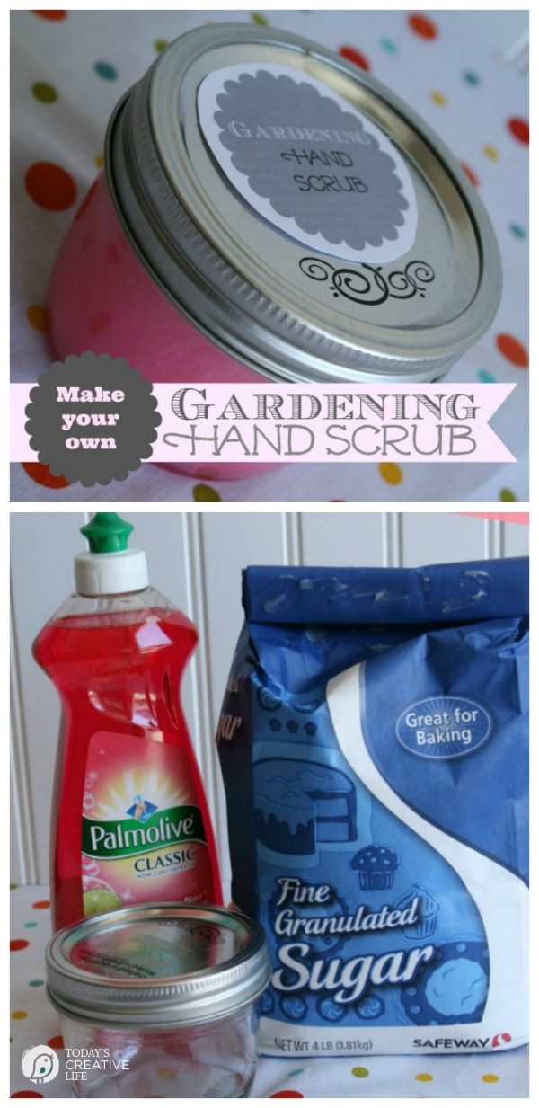 DIY Gardening Hand Scrub | Scrub those hands clean with this sugar hand scrub. Easy to make, with only 2 ingredients. Great for exfoliating dry hands too. This DIY hand treatment is your summer friend. See more on TodaysCreativeLife.com
