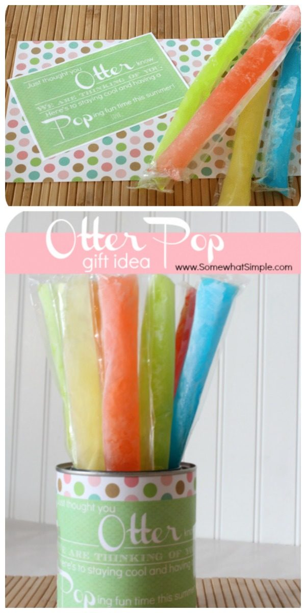 Otter Pops Gift Idea with a free printable label. Summer treat and gift idea | Somewhat Simple for TodaysCreativeLife.com
