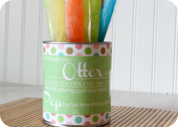 Otter Pops Gift Idea with a free printable label. Summer gift idea | Somewhat Simple for TodaysCreativeLife.com
