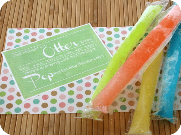 Otter Pops Gift Idea with a free printable label. Craft Supplies | Summer gift idea | Somewhat Simple for TodaysCreativeLife.com