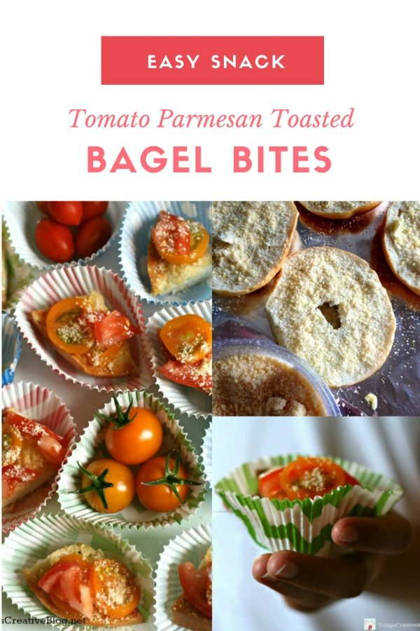 After School Snacks Tomato Parmesan Bagel Bites | Easy back to school snack ideas | TodaysCreativeLIfe.com