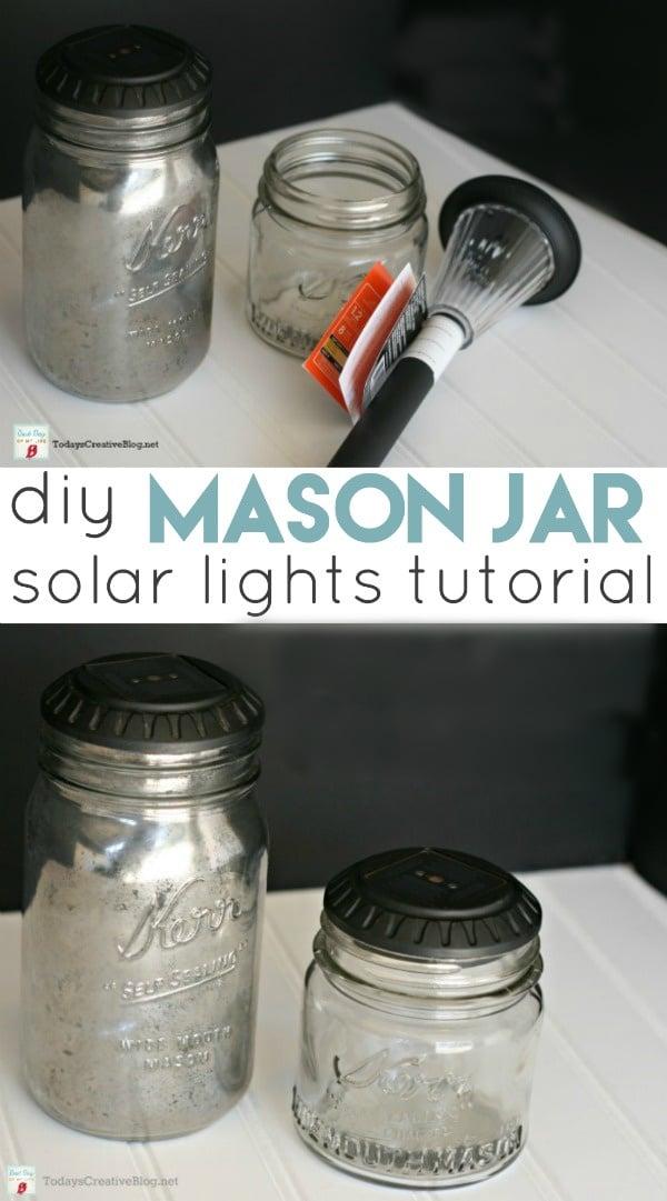 DIY Mason Jar Solar Lights with supplies and tutorial.