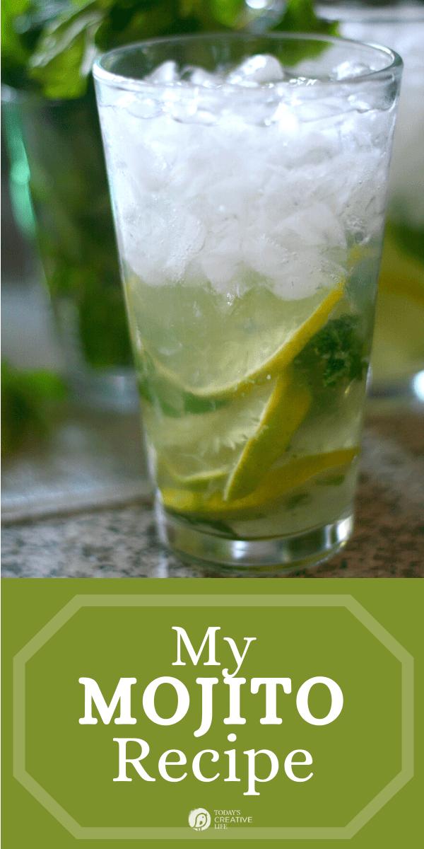 Mojito cocktail in a glass.
