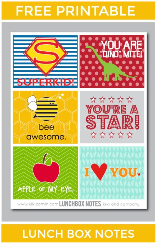 Free Printable Lunch Box Notes | Back to School free printables | kikicomin for TodaysCreativeLife.com