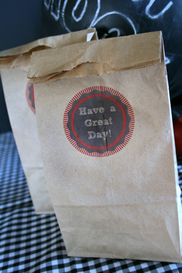 printed lunch sack