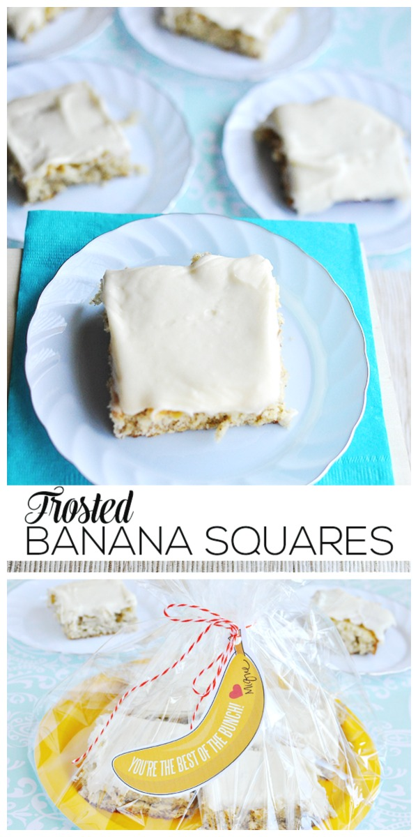 Frosted Banana Squares | Move over banana bread, there's a new banana dessert recipe to make! Add the free banana printable for a quick homemade gift idea. 30 Handmade Days for TodaysCreativeLife.com