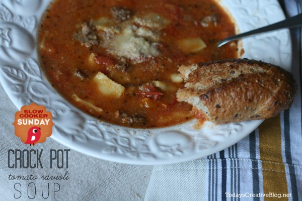 crock pot tomato ravioli soup | TodaysCreativeBlog.net