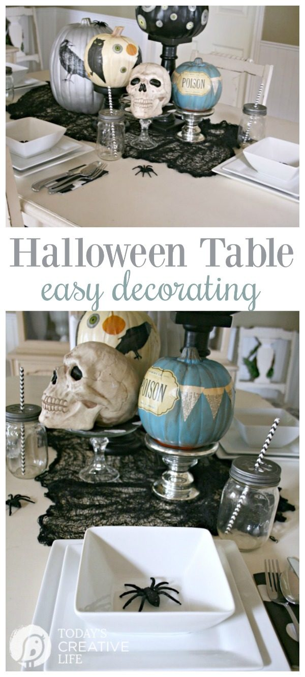 Easy Halloween Table Centerpiece | Halloween party decorating. No Carve Pumpkins | See more details at TodaysCreativeLife.com