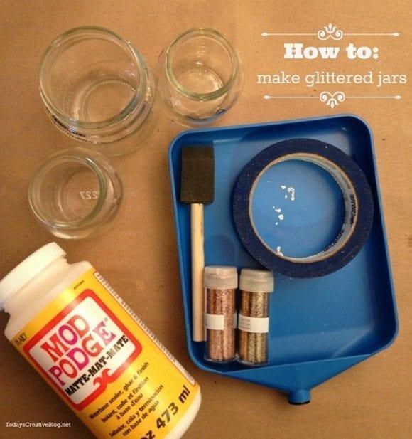 Glittered jar supplies