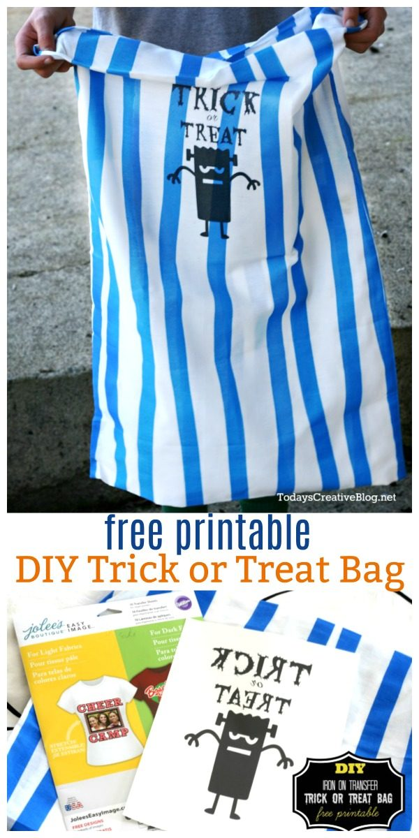 DIY Trick or Treat Bag | Halloween treat bag. Free Halloween printable to iron on a pillowcase | Easy Halloween Craft Idea | Get your free halloween image on TodaysCreativeLife.com