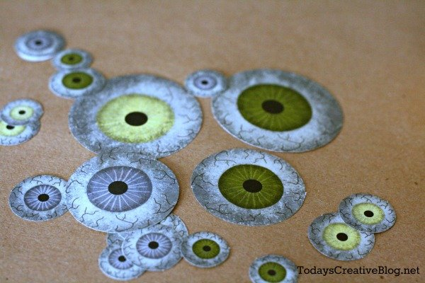 Halloween eyeball Paper cutouts for decoupaged pumpkins