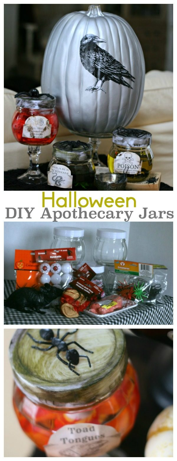 DIY Halloween Apothecary Jars | Make easy Halloween decorations with this tutorial for specimen jars. See more on Today's Creative Life