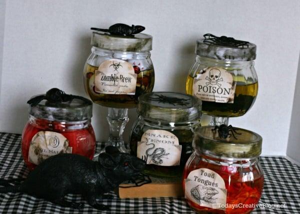 Diy halloween apothecary jars tutorial todayscreativelife com